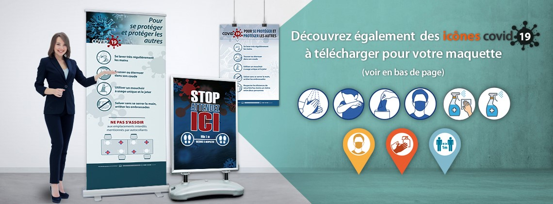 affiches covid roll up mesures sanitaires affichage